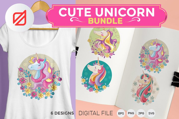 Cute Unicorn Mythical Animal Bundle