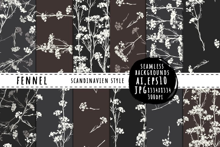 Fennel seamless backgrounds in scandinavian style