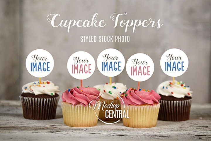 Cupcake Party Toppers, Labels, Birthday Celebration Mockup