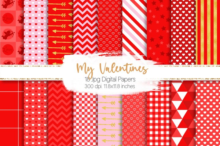 Valentines Digital Paper Graphic