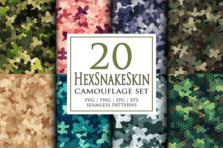 20 Vector digital snakeskin camouflage seamless pattern set