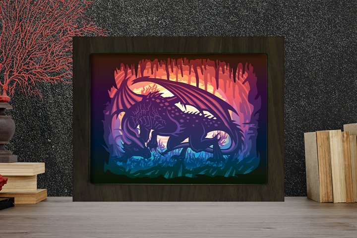 Dragon 3 3D Paper Cutting Light Box - Shadow Box