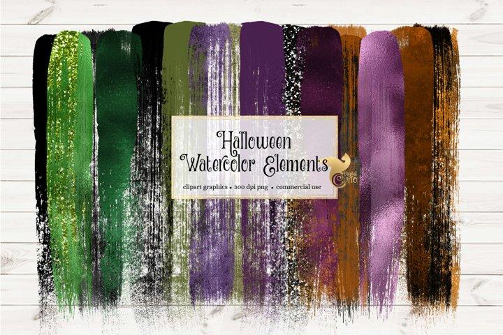 Halloween Watercolor Elements Clipart