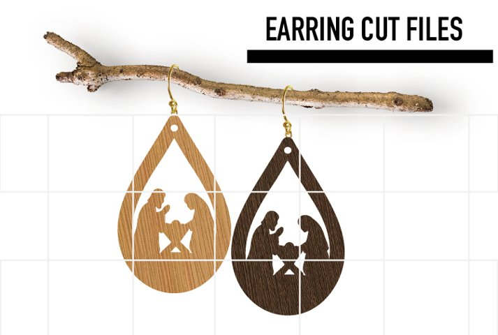 Christmas Navity Earrings Svg, Wood Earrings Template