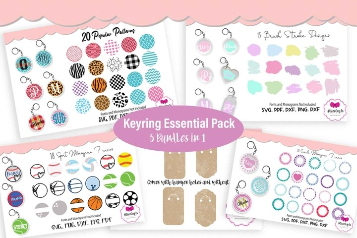 Keyring Circle Monogram Frame Bundle, Circular Pattern Pack