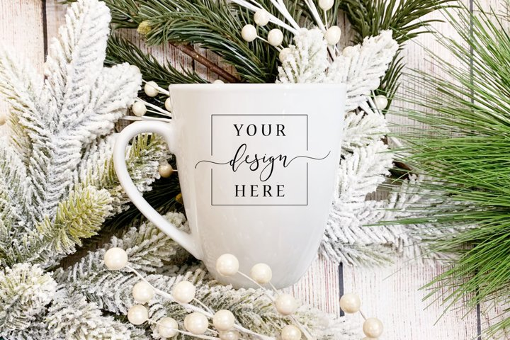 Christmas Winter Mug Mockup In Rustic Farm House Style