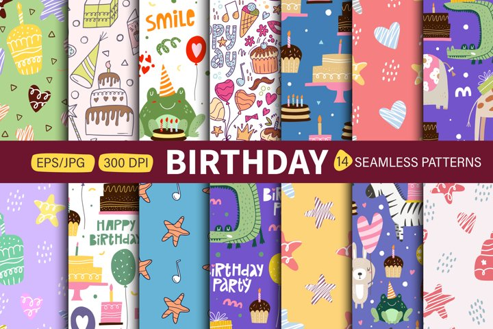 Seamless patterns happy B-day. Vector illustration.