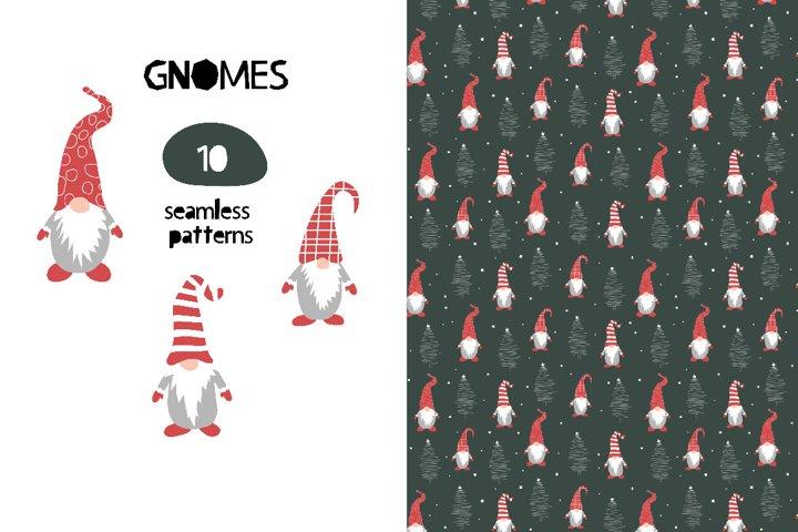 Christmas Gnomes Seamless Patterns Digital Paper