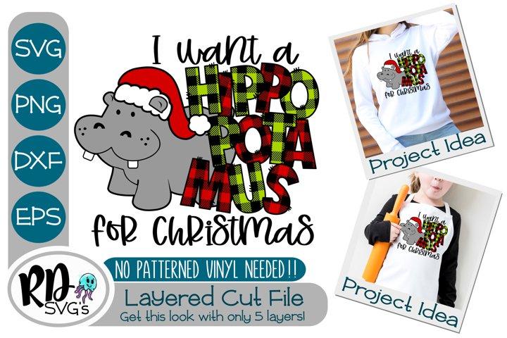 Hippopotamus for Christmas - A Cricut Layered Cut File SVG