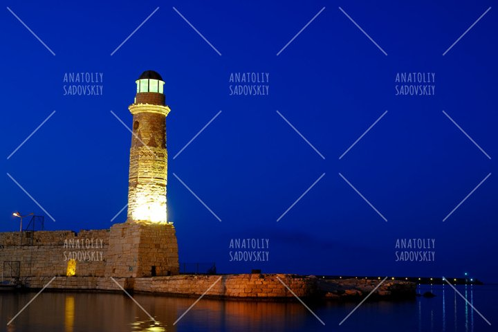 Old lighthouse in city of Rethymno, Crete, Greece