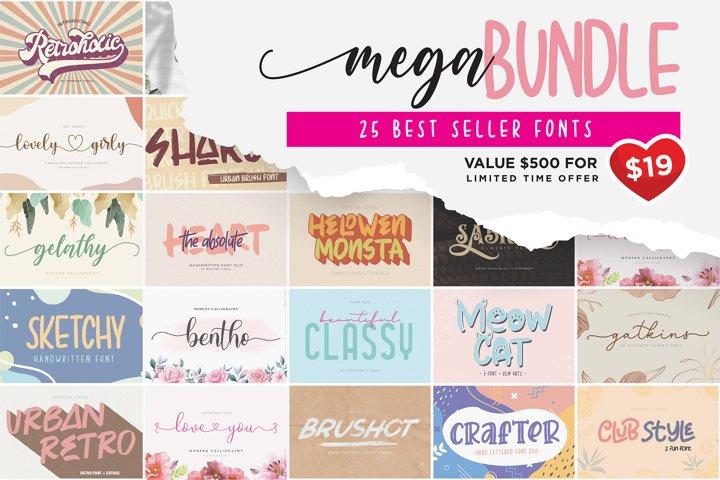 Mega Bundle - 25 Best Seller Fonts