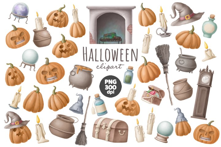 Halloween pumpkin clipart set
