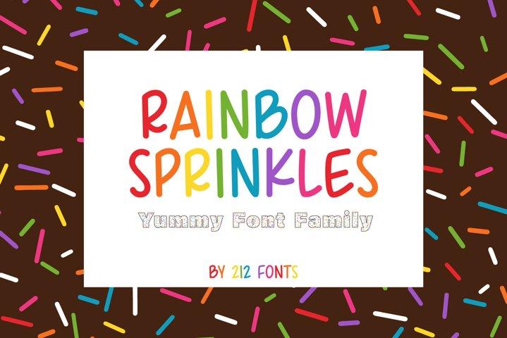 212 Rainbow Sprinkles Monoline Caps Font & Bonus Color Fonts