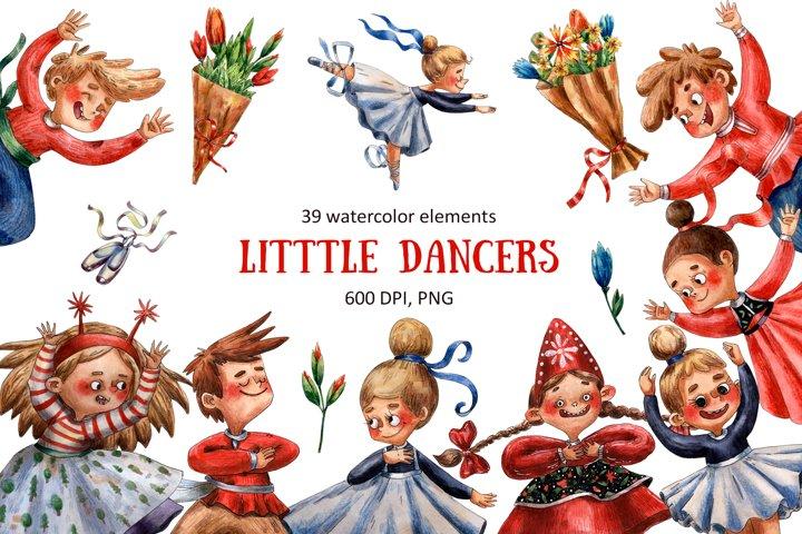 Little Dancers - Watercolor Clip Art