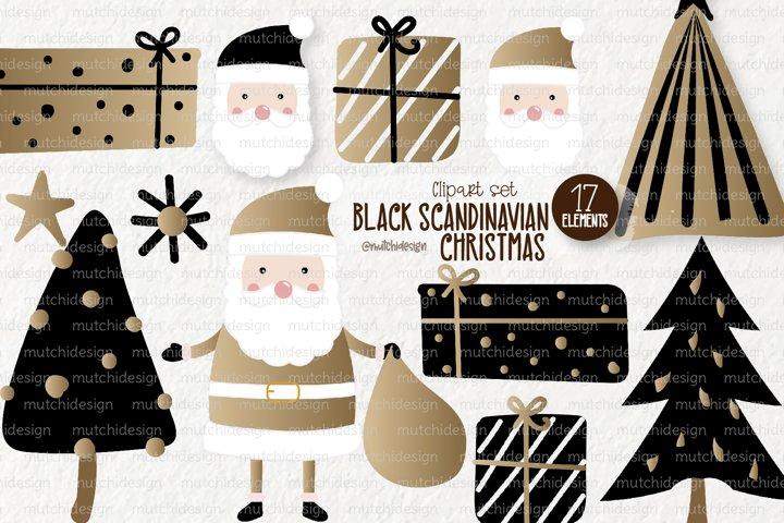 Black Scandinavian Christmas Clipart Set
