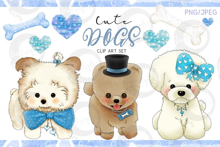 Cute Dogs - Blue Version| Designer Clip Art Set| PNG/JPEG