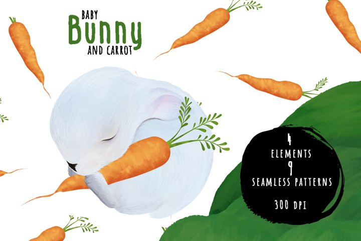 Tiny white baby bunny with carrot