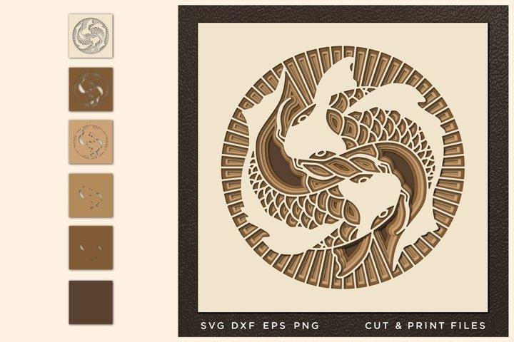 YingYang, Cut file Mandala, Multilayer, Layered svg, Laser
