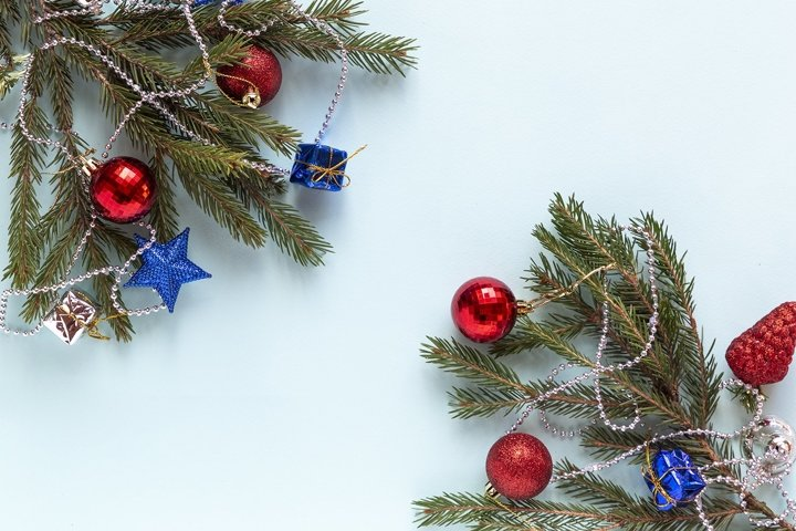 New year decorations of pine branches and christmas tree