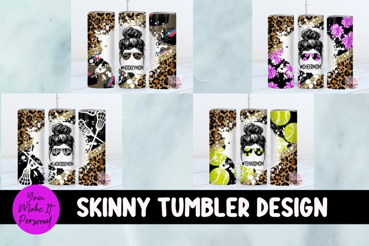 Tumbler Bundle, Messy Bun Designs with Sports Themes