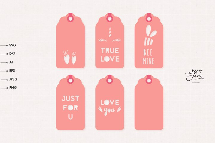 Valentines Day Gift Tag SVG Bundle, Gift tag template SVG