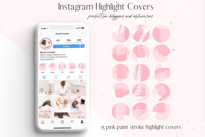 Pink Paint Stroke Instagram Highlight Covers