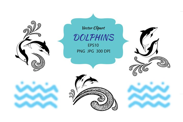 Dolphins Designs for Prints and Tattoo