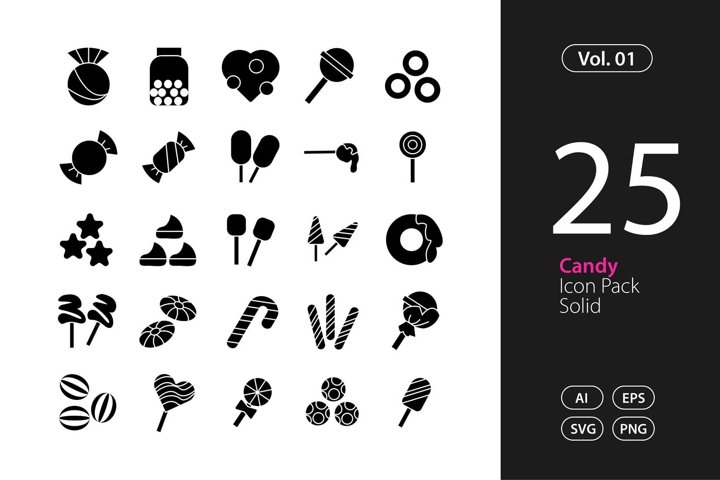 Candy Icon Solid SVG, EPS, PNG