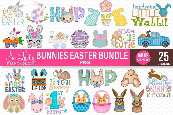 Sublimation Bundle - 25 Easter Bunnies PNG