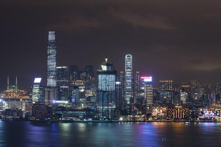 Hong Kong illuminated at night