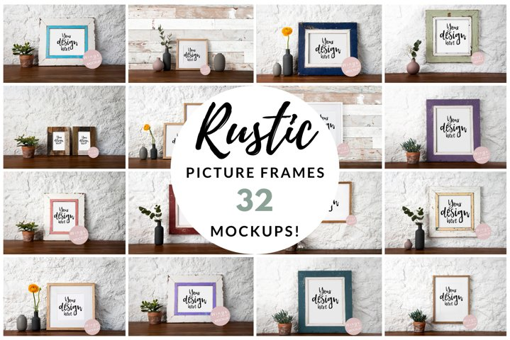 Rustic Picture Frame Mockup Bundle, Shabby Chic, PSD JPEGs