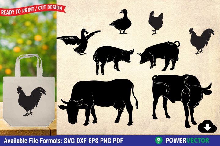 Farm Animals Silhouette|Cow Pig Duck Chicken SVG Cut Files