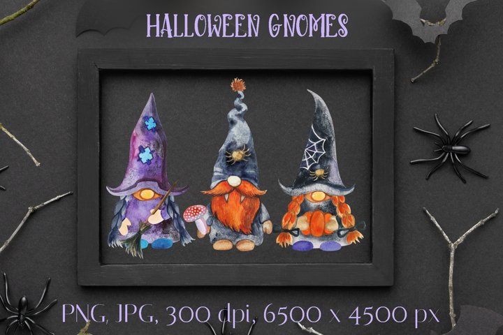 Halloween gnomes. Watercolor clipart. PNG. JPG