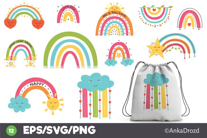 Set Colorful Rainbow clipart png, svg. Happy Baby Rainbow