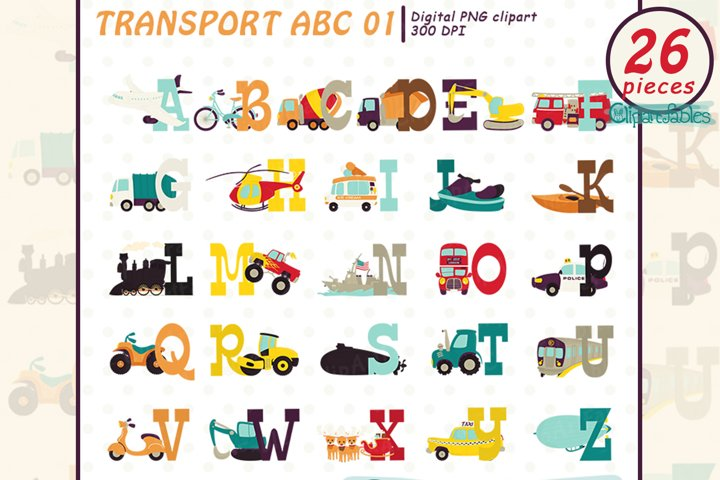 TRANSPORT ALPHABET clipart, Vehicle ABC, Child education