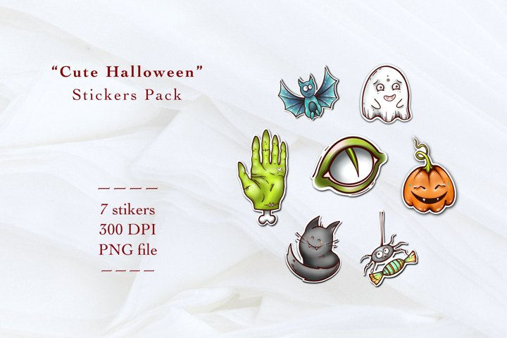 Cute Halloween pack of stickers clipart PNG