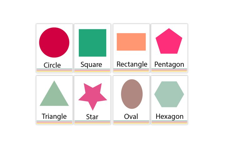 Printable Shapes Flash Cards, Nursery wall cards