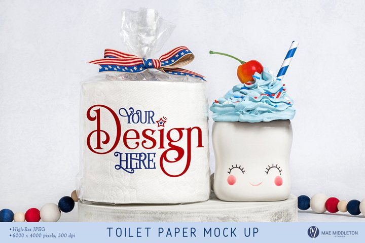 Toilet Paper Roll Mock up, styled photo - Patriotic
