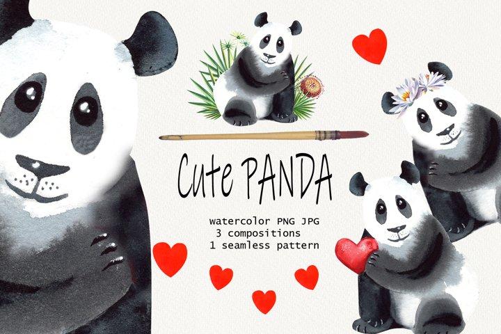 Watercolor Cute Panda Clip Art