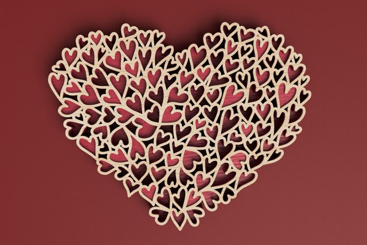 Valentines Day laser cut file - Heart of Hearts