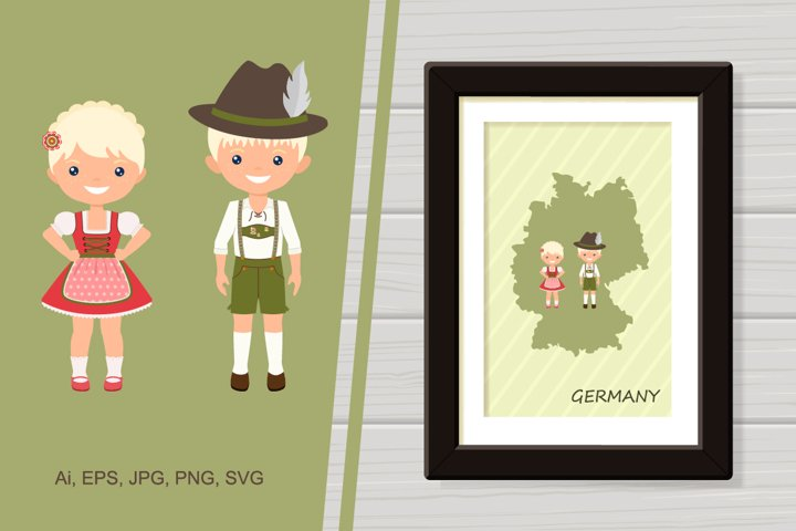 Illustration Germany poster with people in national costume