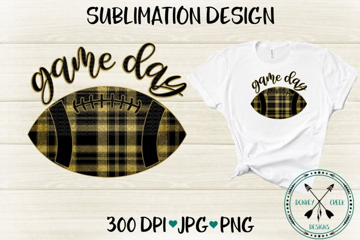 Game Day Black and Gold Plaid Football Sublimation Design
