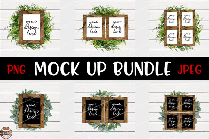 Black & White Wood Signs Mock Up Bundle | JPEG | PNG