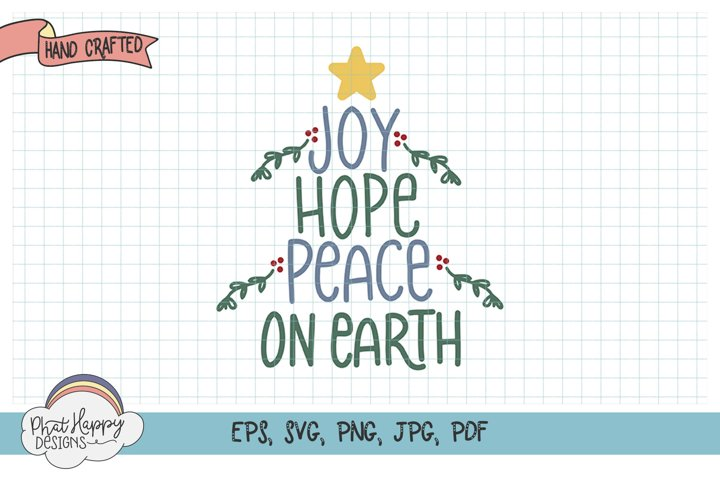Peace on Earth - Hand Lettered Christmas SVG