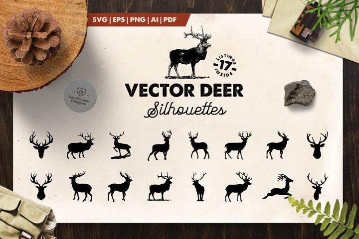 Deer Silhouette | 17 Vector Deer Silhouettes | Deer SVG