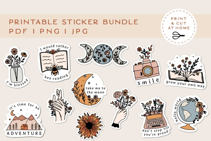 Stickers Bundle PNG | Printable Flower Stickers for Cricut