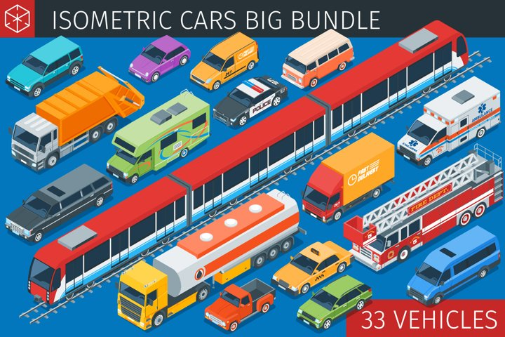 Isometric vehicles big collection
