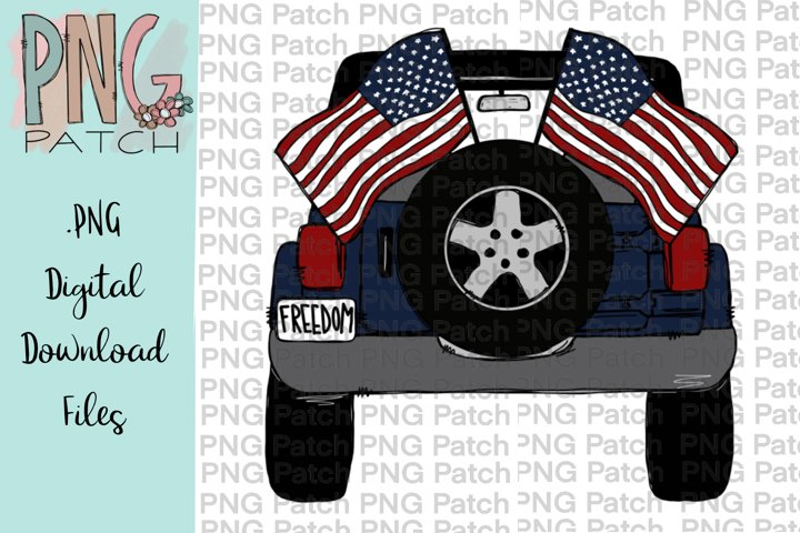 Topless Freedom SUV with Flags, Freedom PNG File