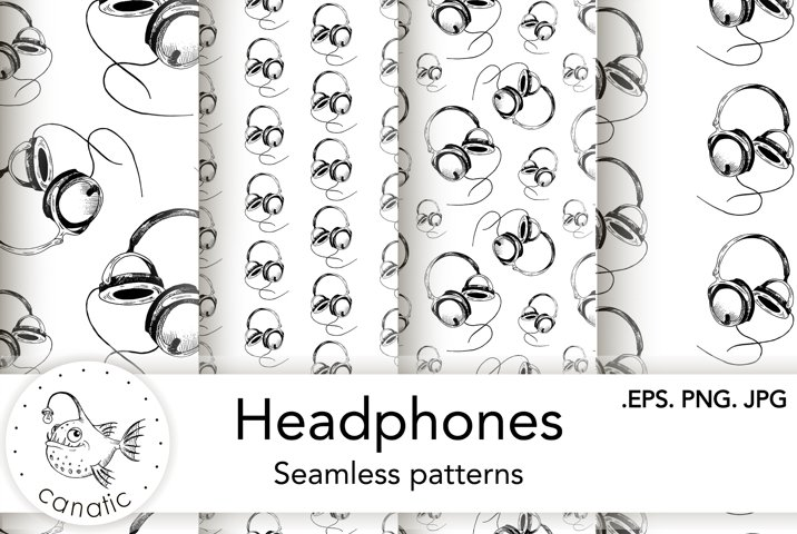 Hand-drawn sketch of headphones. Seamless patterns.