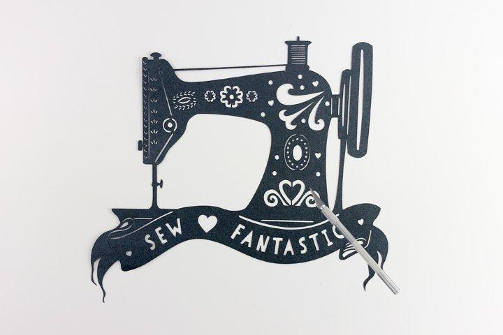 Retro Sewing Machine Paper Cut